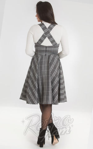 Hell Bunny Frostine Pinafore Dress in Grey Plaid back