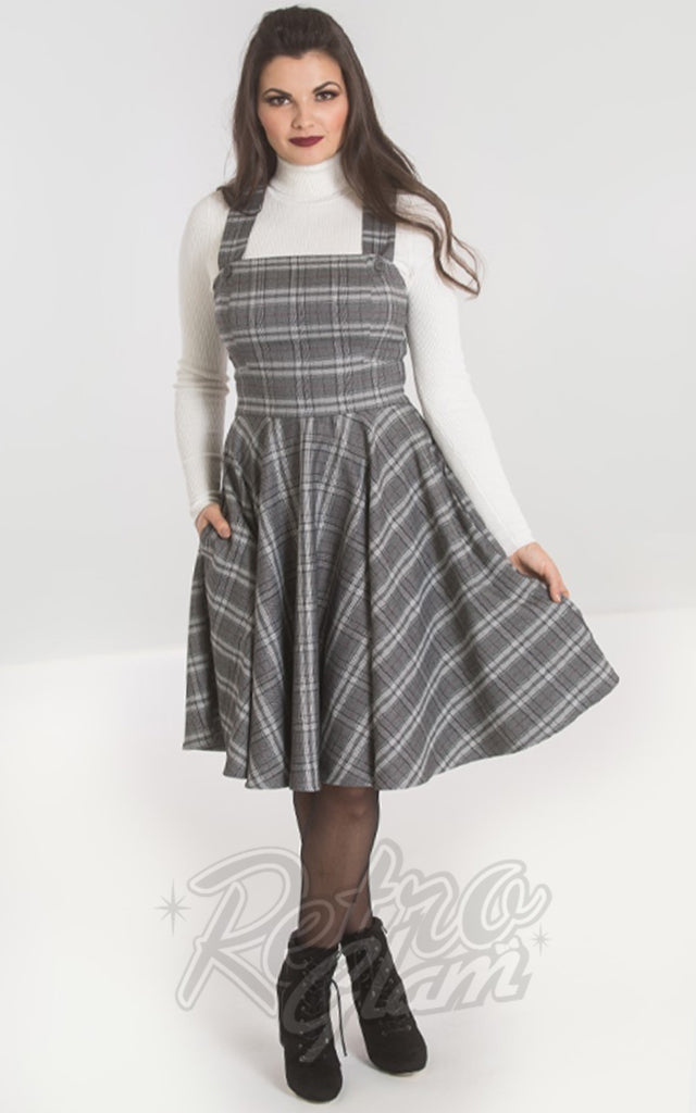 Hell Bunny Frostine Pinafore Dress in Grey Plaid