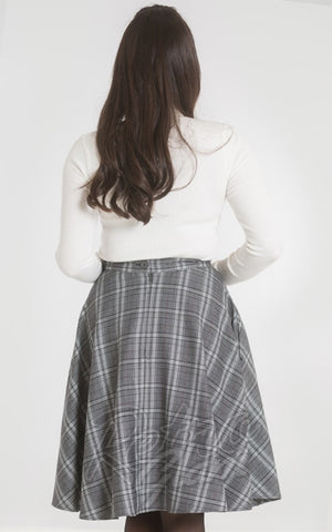 Hell Bunny Frostine 50s Skirt in Grey Plaid back