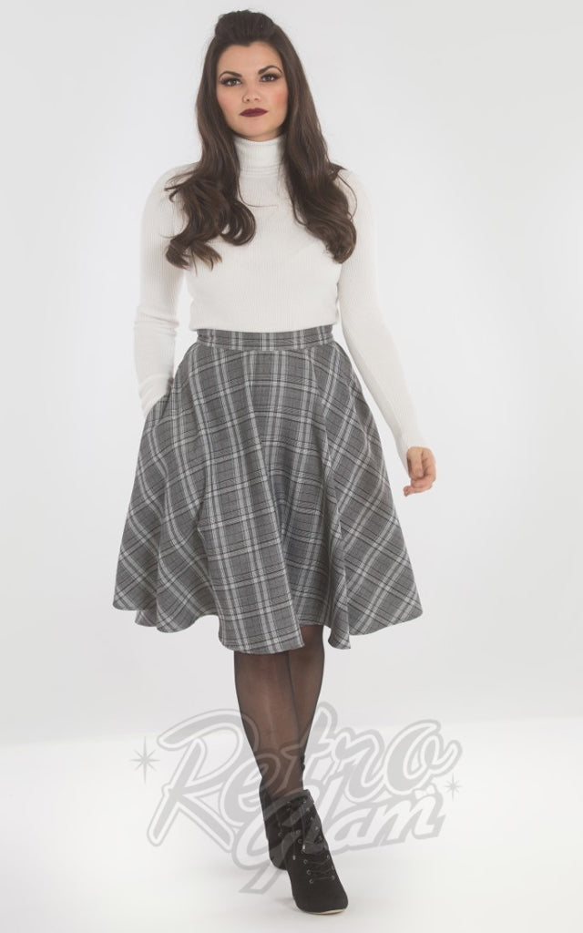 Hell Bunny Frostine 50s Skirt in Grey Plaid