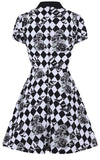 Hell Bunny Hauntely MIni Dress harlequin