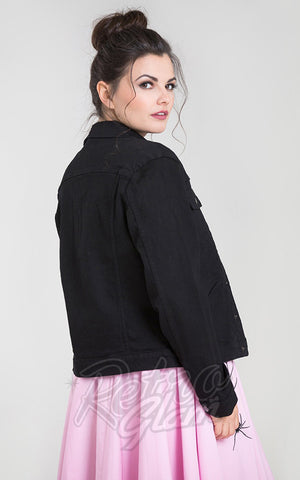 Hell Bunny Black Denim Indiana Jacket back