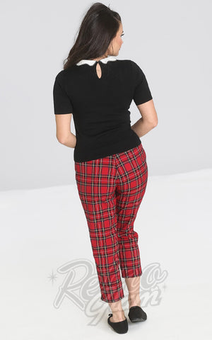 Hell Bunny Irvine Red Plaid Cigarette Pants back
