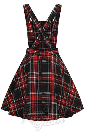 Hell Bunny Islay PInafore Dress in Red & Black Plaid back