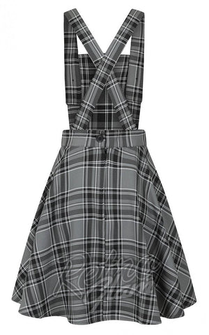 Hell Bunny Islay PInafore Dress in Grey Plaid back