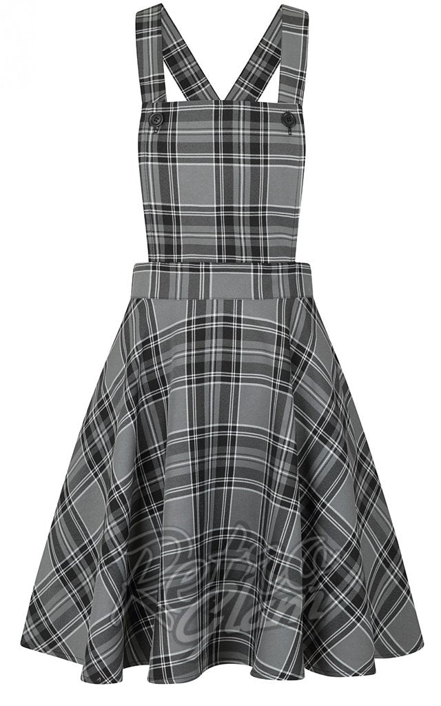 Hell Bunny Islay PInafore Dress in Grey Plaid