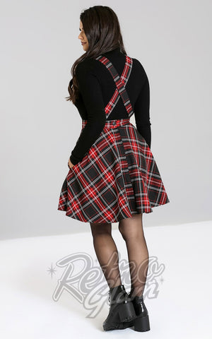 Hell Bunny Islay PInafore Dress in Red & Black tartan back
