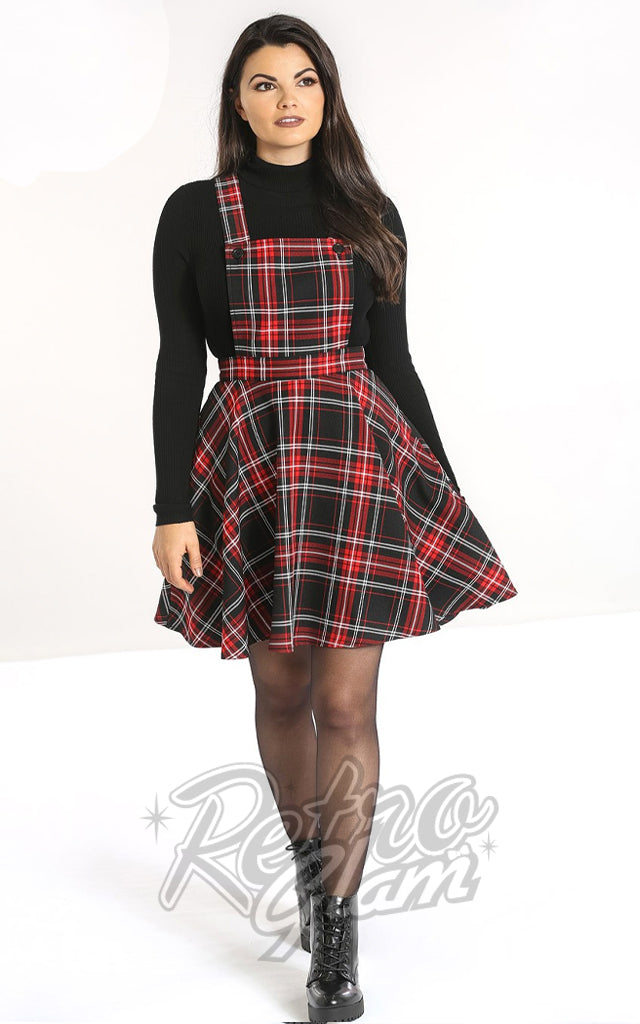 Hell Bunny Islay PInafore Dress in Red & Black Plaid