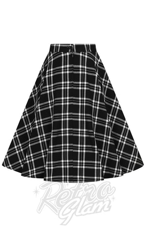 Hell Bunny Islay 50s Skirt in Black & White Plaid back