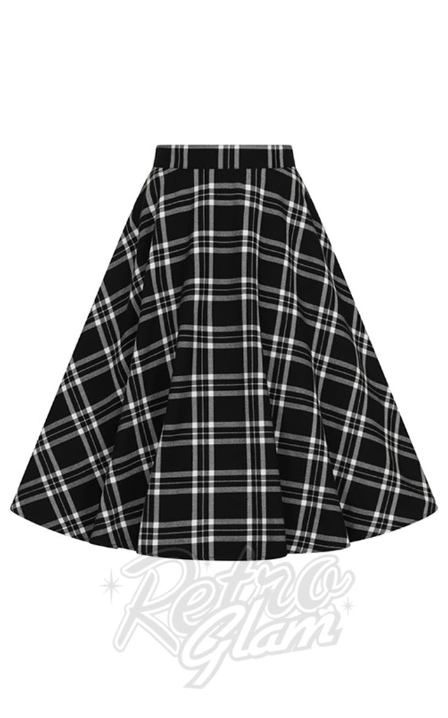 Hell Bunny Islay 50s Skirt in Black & White Plaid