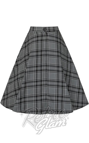 Hell Bunny Islay 50s Skirt in Grey Plaid back