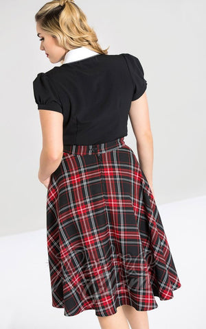 Hell Bunny Islay 50s Skirt in Black & Red Plaid back
