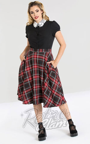 Hell Bunny Islay 50s Skirt in Black & Red Plaid