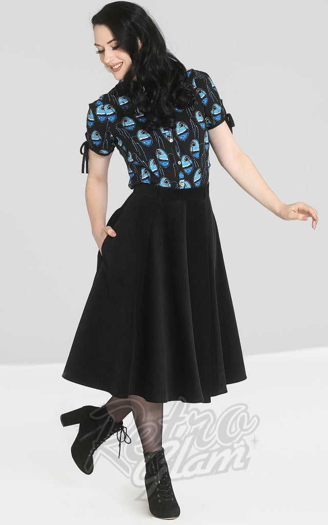 Hell Bunny Jefferson Corduroy Skirt in Black
