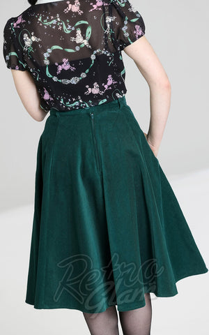 Hell Bunny Jefferson Corduroy Skirt in Green back
