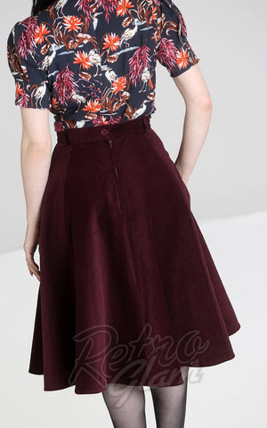 Hell Bunny Jefferson Corduroy Skirt in Wine back