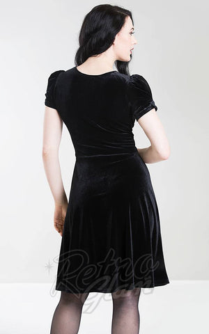 Hell Bunny Joanne Dress in Black Velvet back