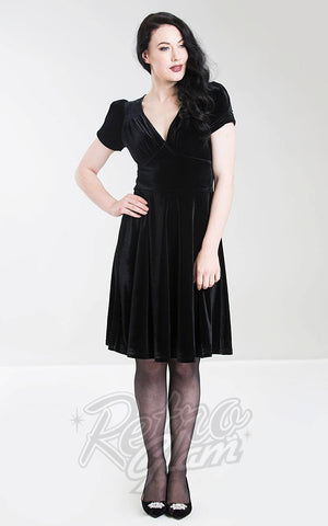 Hell Bunny Joanne Dress in Black Velvet