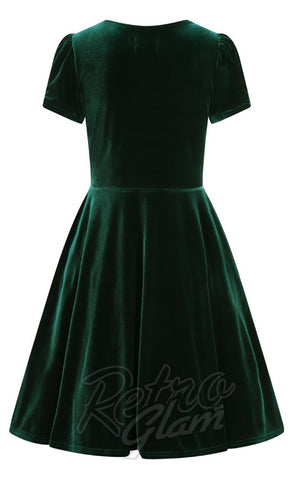 Hell Bunny Joanne Dress in Green Velvet BACK