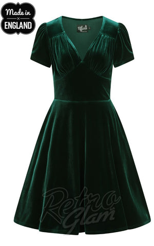 Hell Bunny Joanne Dress in Green Velvet