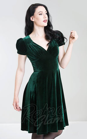 Hell Bunny Joanna Dress in Green Velvet