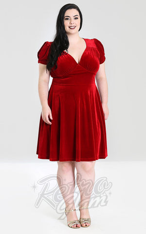 Hell Bunny Joanne Dress in Red Velvet Curvy