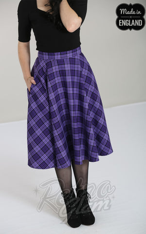 Hell Bunny Karine 50s Skirt in Black & Purple Plaid
