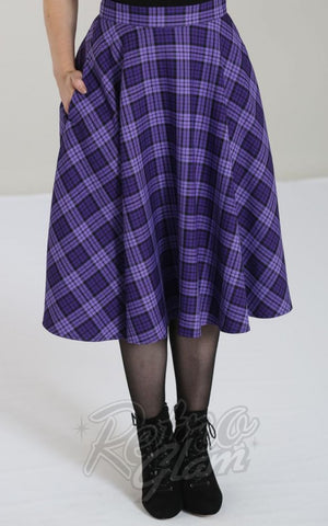 Hell Bunny Karine 50s Skirt in Black & Purple tartan