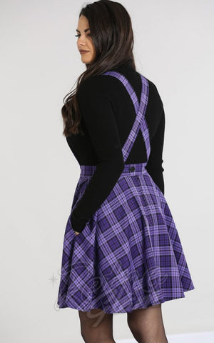Hell Bunny Karine Pinafore Dress in Black & Purple Plaid back