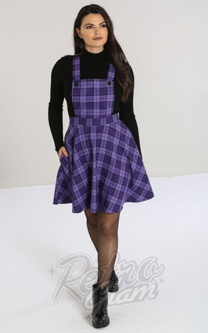 Hell Bunny Karine Pinafore Dress in Black & Purple Plaid