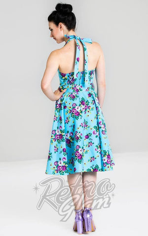 Hell Bunny Blue Floral May Day Dress 2020 back