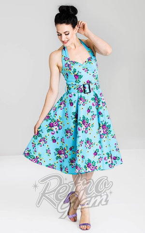 Hell Bunny Blue Floral May Day Dress 2020