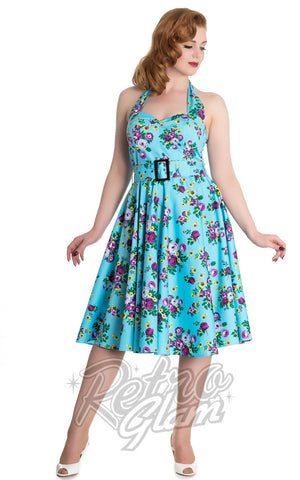 Hell Bunny Vintage Blue Floral May Day Dress