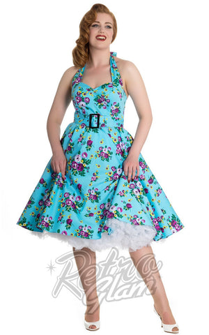 Hell Bunny Blue Floral May Day Dress