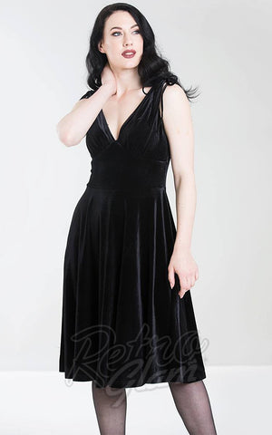 Hell Bunny Melina Dress in Black Velvet