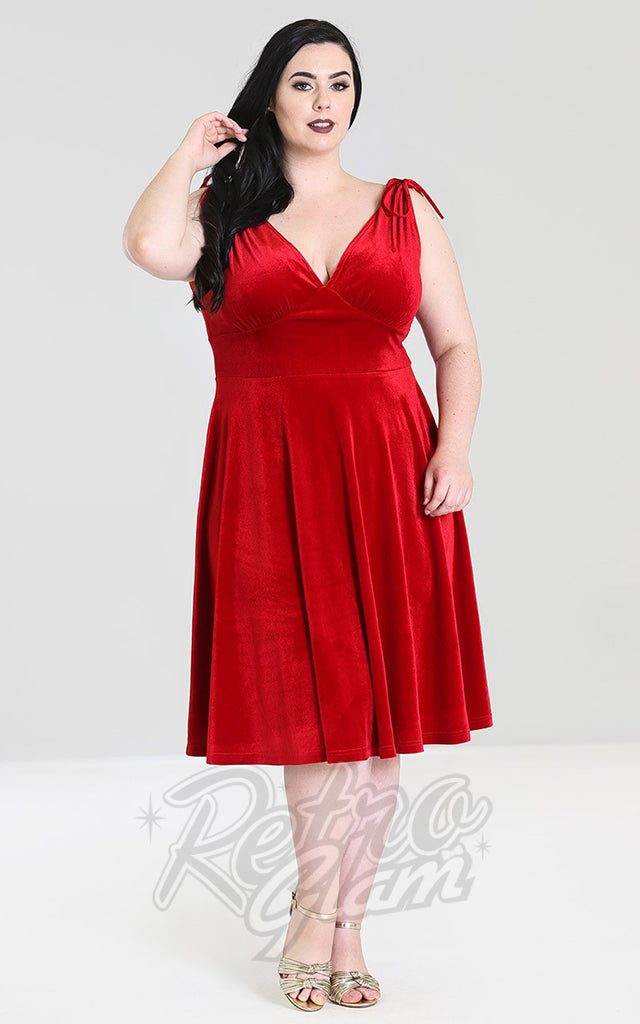Hell Bunny Melina Dress in Red Velvet