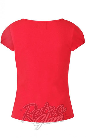 Hell Bunny Mia Top in Red back
