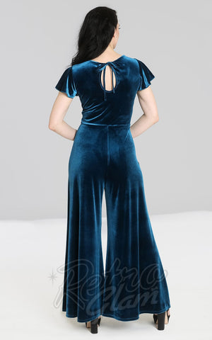 Hell Bunny Mischa Jumpsuit in Teal Velvet back