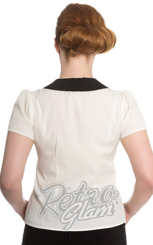 Hell Bunny Miss Muffet Top in Ivory White back