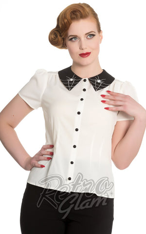 Hell Bunny Miss Muffet Top in Ivory White