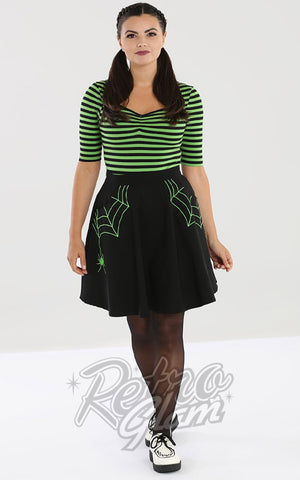 Hell Bunny Miss Muffet spiderweb Skirt with Green Embroidery