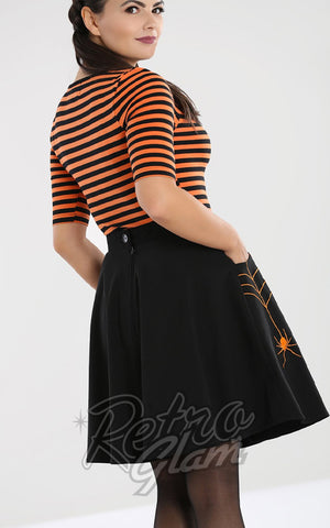 Hell Bunny Miss Muffet spiderweb Skirt with Orange Embroidery back
