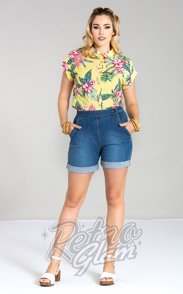 Hell Bunny Nash Medium Blue Denim Shorts