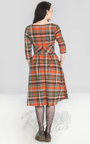 Hell Bunny Oktober 50s Dress in Orange & Green Plaid back