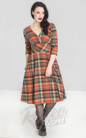 Hell Bunny Oktober 50s Dress in Orange & Green Plaid