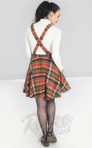 Hell Bunny Oktober PInafore Dress in Orange & Green Plaid back