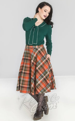 Hell Bunny Oktober 50s Skirt in Orange & Green Plaid