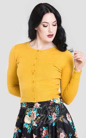 Hell Bunny Paloma Cardigan in Mustard pinup