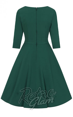 Hell Bunny Patricia 50's Dress in Green back