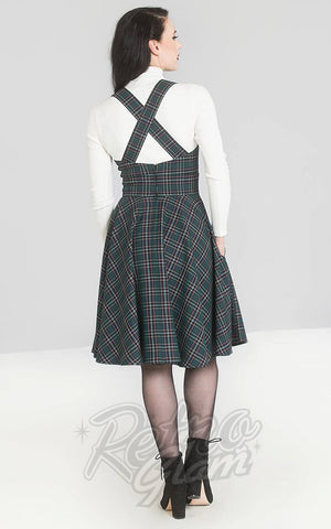 Hell Bunny Peebles Pinafore Dress in Green Plaid back